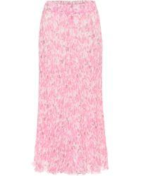 Ganni Bedruckter Midirock aus Georgette - Pink