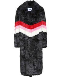 MSGM Striped Fur Coat - Black