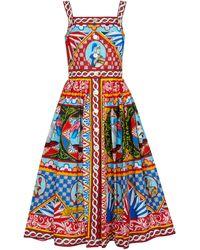 Dolce & Gabbana Abito midi in cotone con stampa - Multicolore