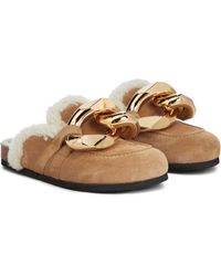 JW Anderson Embellished Shearing And Suede Slippers - Natural