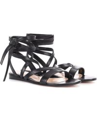 Gianvito Rossi Exclusive To Mytheresa.com – Janis Flat Leather Sandals - Black