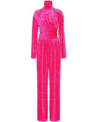 Balenciaga Crushed-velvet Turtleneck Jumpsuit - Pink