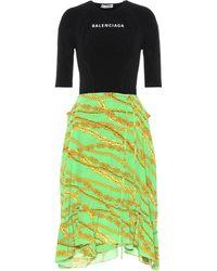 Balenciaga Jersey And Silk Crêpe Midi Dress - Green