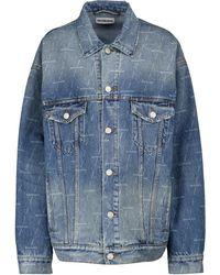 Balenciaga Chaqueta de jeans con logo - Azul