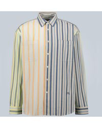 JW Anderson Parasol Stripe Oversized Chest Pockets Shirt - Blue