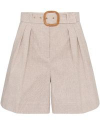 Rebecca Vallance Zohra Belted Cotton And Linen Shorts - Natural