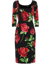 Dolce & Gabbana Robe Fourreau En Charmeuse À Imprimé Roses - Multicolore