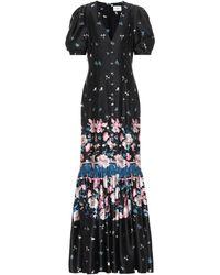 Erdem Robe longue Rosetta imprimée en satin de soie - Noir