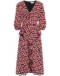 Rebecca Vallance Hotel Beau Frill Heart Print Midi Dress - Red