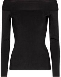 Victoria Beckham Stretch-knit Off-shoulder Top - Black