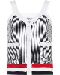 Thom Browne Striped Cotton-jersey Tank Top - Blue