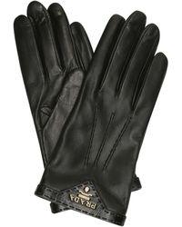 Prada Logo Leather Gloves - Black