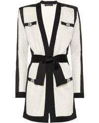 Balmain - Sequined Belted Cardigan - Lyst