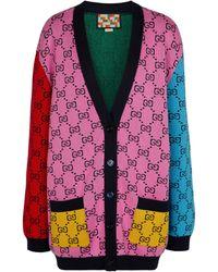 Gucci Cardigan GG Multicolor en laine et coton - Multicolore
