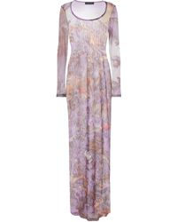 Y. Project Printed Mesh Maxi Dress - Purple