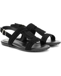 Tod's Suede Sandals - Black