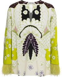 Valentino - Floral Feather-trimmed Cotton Top - Lyst