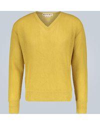 Marni V-neck Alpaca Jumper - Yellow