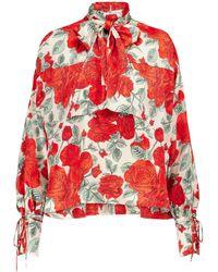 Ganni Blusa de seda elastizada floral - Rojo