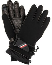 3 MONCLER GRENOBLE Leather-trimmed Ski Gloves - Black