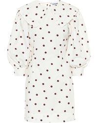 Ganni Polka Dot Mini Dress - White