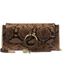 See By Chloé Joan Snake-effect Leather Clutch - Brown