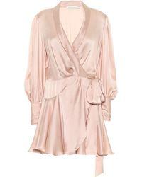 Zimmermann Wickelkleid aus Seidensatin - Pink