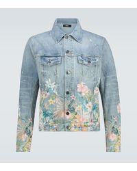 Amiri Veste en jean à imprimé Floral Leaf - Bleu