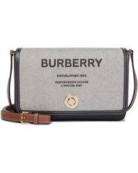 Burberry Tasche Horseferry aus Canvas und Leder - Braun
