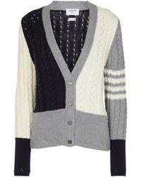 Thom Browne Colorblocked Wool Cardigan - Multicolour