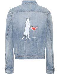 Saint Laurent Printed Denim Jacket - Blue
