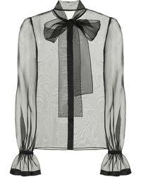 Dolce & Gabbana Sheer Silk-organza Blouse - Black