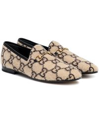 Gucci Loafers Jordaan GG aus Wolle - Natur
