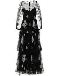 RED Valentino Floral Point D'esprit Tulle Gown - Black