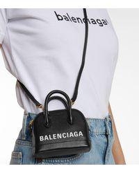 Balenciaga Ville Mini Leather Shoulder Bag - Black