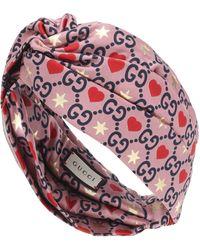 Gucci Diadema de sarga de seda - Rosa