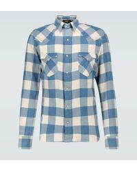 RRL Cotton-linen Checked Flannel Shirt - Blue