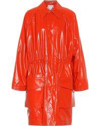 Bottega Veneta Abrigo de piel - Naranja