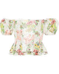 Brock Collection Exclusivo en mytheresa: top Oarsman de mezcla de seda floral - Blanco