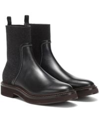 Brunello Cucinelli Bottines en cuir et cachemire - Noir
