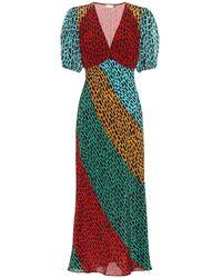 RIXO London Abito midi Amber in seta - Multicolore