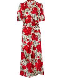 Ganni Robe midi en soie mélangée à fleurs - Rouge