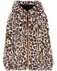 Miu Miu Leopard Print Fleece Hoodie - Brown