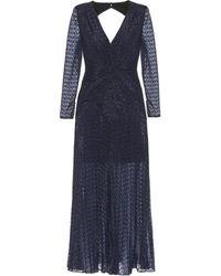 Self-Portrait Fil-coupé Midi Dress - Blue