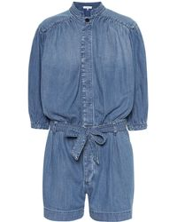 FRAME Playsuit Cali aus Chambray - Blau