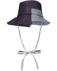 JW Anderson Asymmetric Denim Bucket Hat - Blue
