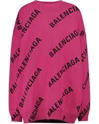 Balenciaga Pullover in jacquard di misto lana - Rosa