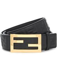 Fendi Baguette Leather Belt - Black