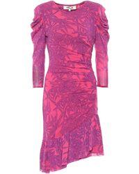 Diane von Furstenberg Robe asymétrique Lila en tulle à fleurs - Rose
