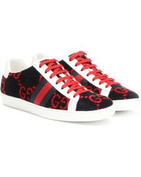 32010d5a9 Gucci Ace Velvet Sneakers in Red - Lyst